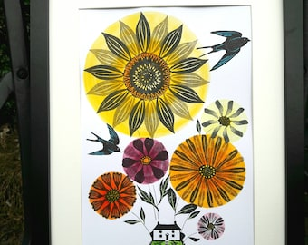 Cottage Garden with Sunflower and Marigold, Affordable Original Art