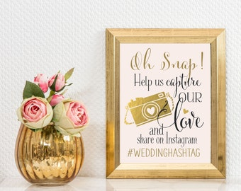 Instagram Wedding Sign | Personalized Wedding Hashtag PRINTABLE | Quick Turnaround DIY Print