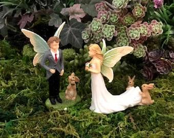 Miniature Fairy BRIDE with Bunnies