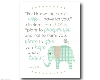 For I know the plans I have for you   Jeremiah 29:11 - Christian Art Print