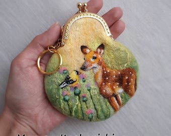 Handmade felted wallet, Wool pouch, Wool wallet, Felted pouch, Coin purse, Deer and bird