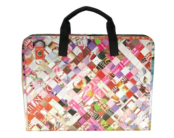 upcycled laptop bag for women - laptop briefcase - vegan laptop bag - recycled laptop case - ethical bag - birthday gift for college student
