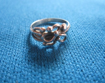 Vintage Mid Century Modern Sterling Silver Abstract Ring Size 4 1/2