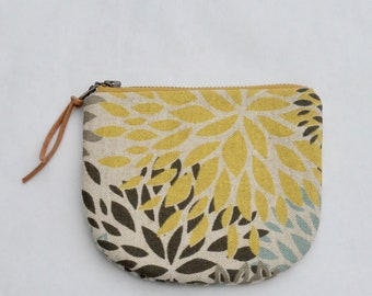 Blooms Padded Round Zipper Pouch / Coin Purse / Gadget / Cosmetic Bag - READY TO SHIP