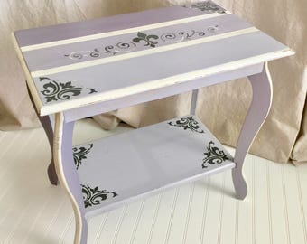 Vintage Shabby Lavender Ombre Handcrafted Wood End Table
