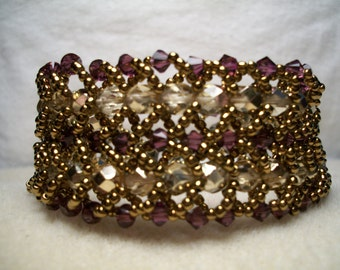 Double Flat Spiral Beaded Bracelet-Bronze/Purple-8in.