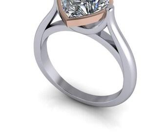 1.80 CTW Heart Shape Ring, Forever One Ring, Moissanite Ring, Modern Ring, Engagement Ring, Rose Gold Ring, Bezel Set Ring