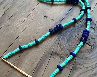 Green Turquoise Necklace / Lapis Necklace / Blue Turquoise Necklace / Gold Spike Necklace / Bohemian