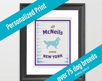 Dog Print City Decor | Housewarming Gift | Golden Retriever| Over 75 Breeds Available | Birthday Gift