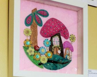 Free shipping Pink Fairyland - Hand Embroidery - Framed Handmade Felt Wall Art By BettyShek