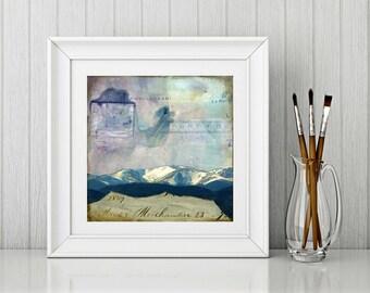 "Landscape Art Print: Mixed Media Photography, Colorado Print, Colorado Mountain Print, purple, blue, CO gift, 8""x8"" or 12""x12"" print, ""Echo"""