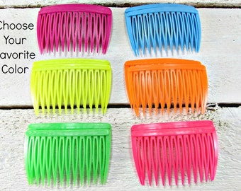 Vintage Hair Comb Set of 2- GOODY Neon Plastic- Orange, Yellow, Lime Green, Blue or Pink- 80s Hair Accessories for Girls Women- 80s Fashions