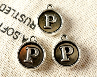 Alphabet letter P charm silver vintage style jewellery supplies