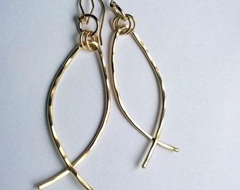 Christian Fish Earrings/ Christian  Earrings/ Large Gold Hoop Earrings/ Ichthys Earrings/ Contemporary Christian Jewelry/ Faith Jewelry