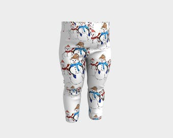 Snowman Family /Baby Leggings/Baby Clothes Mother Baby Leggings Clothing for kids Six months Kid's clothing Printed leggings for babies Fun