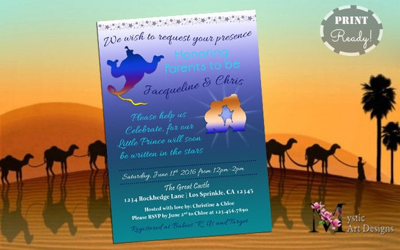 Aladdin Inspired baby boy Shower Invitation Printable Baby Custom