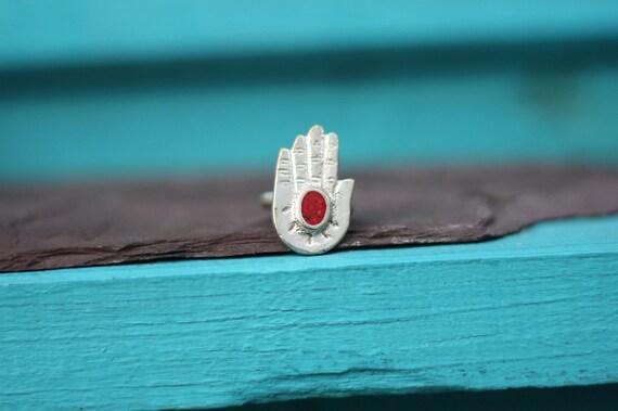 CORAL HAMSA RING - Turquoise Ring - Hand of fathima - Faith - Crystal Ring - Gemstone Ring - Spiritual - Bespoke - Antique Ring - Gift
