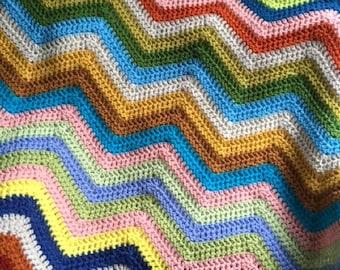 BOHO hippie chevron zig zag ripple baby toddler blanket afghan wrap crochet wheelchair stripes VANNA WHITE yarn adult lap robe multi color