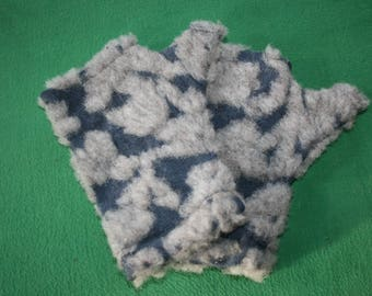 Fingerless mittens, wristwarmers, boiled wool/ Alpaca, felted wool, denim blue & beige, fleecy fingerless gloves, matching hat available