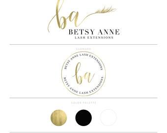 Eye Lash Logo Design Lash Extension Logo Gold Logo Make Up Artist Branding Package Watermark Lash Salon Logo Design Lash Logo Premade Logo