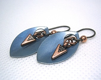 Mixed Metal Earrings, metal petals, Leaf Scale, Tiny Arrows, Niobium Ear Wires, Blue and Copper, Lightweight earrings, hypoallergenic