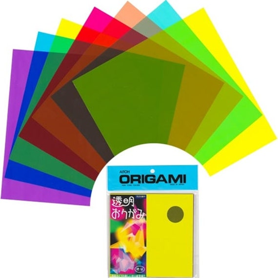 Transparent Plastic Origami Paper Pack - Assorted Colors - 6\