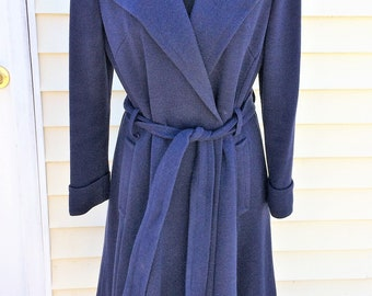 1970s Vintage Navy Blue Wrap Coat 36 Inch Bust Union Made