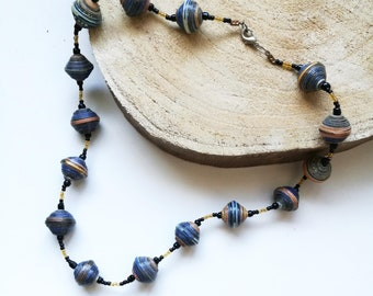 Necklace made of recycled paper beads