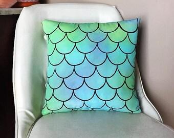 Mermaid Watercolor Pillow