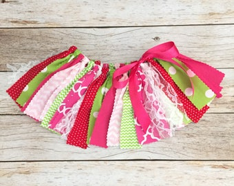 Pink, Red and Green Fabric Tutu, Baby Girl Birthday Outfit, Pink and Green Fabric Tutu, Strawberry Birthday Theme Outfit