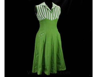 Size 10 Sun Dress - 50s Avocado Green & White Summer Frock - Awning Stripe - Full Skirt - Striped Cotton with Pockets - Waist 28 - 49473