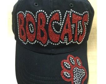 Bobcat Cap, Bobcat rhinestone Hat, Bobcat Hat