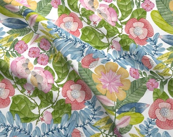 Watercolor Fabric - Malicia18 Flora A By Malicia - Watercolor Floral Botanical Blue Green Rose Cotton Fabric By The Yard With Spoonflower