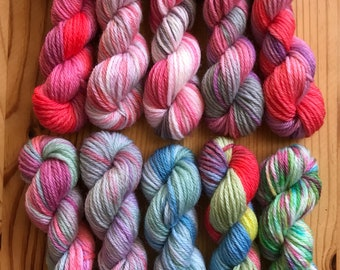 Hand Dyed Sock Yarn Mini Skein Set #155 -- 10 Mini Skeins/25 Yards Each
