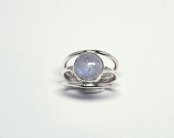 Moonstone trilogy silver ring – gemstone ring _ boho ring