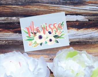 Poppy Floral Monogram Decal, Watercolor Flowers, Flower decal, Tumbler Decal, Watercolor Poppies, Printed Decal