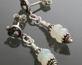 Genuine Opal Earrings. Sterling Silver Posts. October Birthstone. Dangle Earrings. f14e036