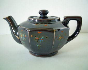 Vintage Small Brown Lustre Ware Teapot MG Japan