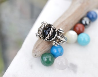 Sterling Silver Interchangeable Orb Ring with 10 Orbs, Interchangeable Ring, Interchangeable Sterling Jewelry, Sterling Gemstone Orb Ring
