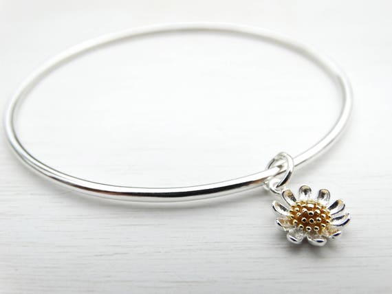 Silver Daisy Bangle, Sterling Silver