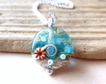 Small Beach Wave Necklace, Nautical Wave Lampwork Pendant Necklace, Ocean Blue Waters Lentil Bead, Lampwork Necklace, Gift for Her, Gifts