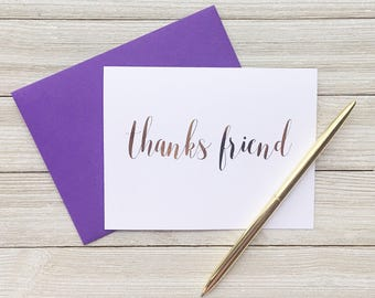 Friend Thank You Card - Card for Friend - Thanks Friend Card - Best Friend Card - Bestie Card - Gold Foil Thank You Note - Thank You Card