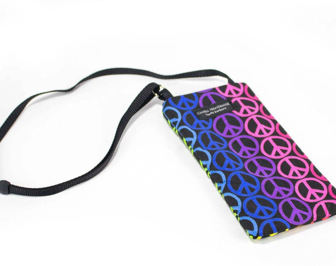 Peace Love fabric Eyeglass Reader Case -with adjustable neck strap lanyard