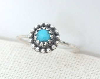 Turquoise Stacking Ring, Silver Simple Ring, Boho Turquoise Gemstone Ring, 925 Sterling Silver Turquoise Ring