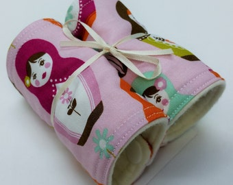 Newborn Baby Seat Belt Strap Covers, Matryoshka Russian Doll, Purple, Handcrafted, Infant Accessory, Car Carrier Strap Cover