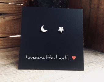 Small Textured Fine Silver Moon & Star Earrings