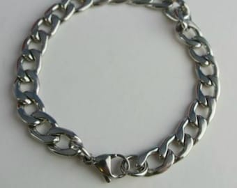 Men's Bracelet Curb Link Stainless Steel 8 inch