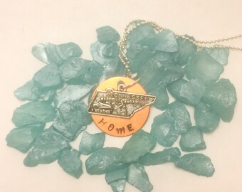 Tennessee HOME Hand stamped necklace
