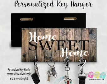 Home Sweet Home Custom Wall Key Holder - Personalized Key Hanger - Made Of MDF Wall Key Hanger - Housewarming Gift - Wedding Gift