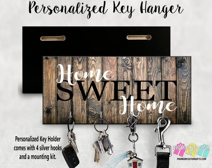 Home Sweet Home Custom Wall Key Holder - Personalized Key Hanger - Made Of MDF Wall Key Hanger - Housewarming Gift - Wedding Gift